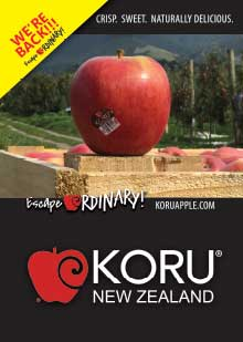 KORU Apples on a crate Poster A3 with Yellow Corner